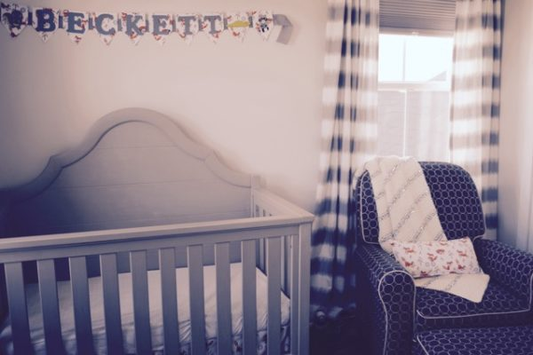 Nursery Crib with Name Plaque
